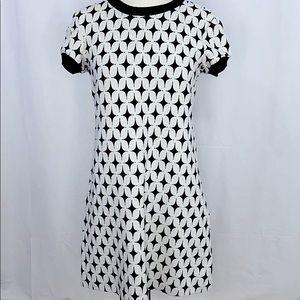 Zara Woman Retro Shift Dress Black White